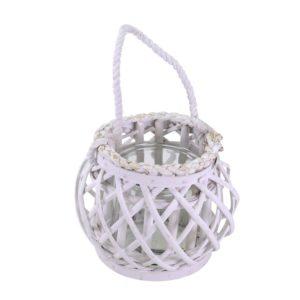 Lanterna Rotonda In Vimini Bianco Con Corda
