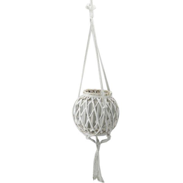 Lanterna Rotonda In Vimini Bianco Pensile Con Corda