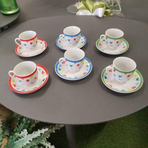 Set 6 Tazzine Colorate Per Caffè Con Piattino Linea Luisa