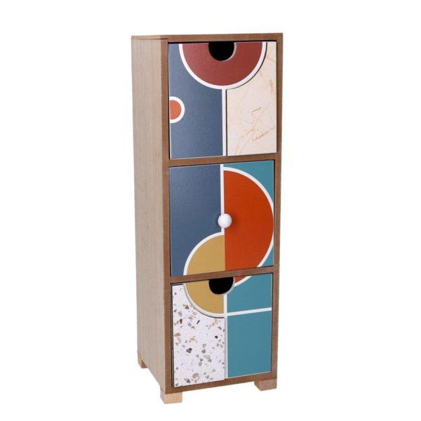 Portatutto In Legno Con 3 Cassetti Multicolor