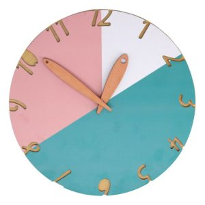 Orologio Rotondo In Legno Fantasia Spicchi