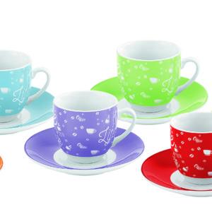 Set 6 Tazzine Colorate Per Caffè Con Piattino