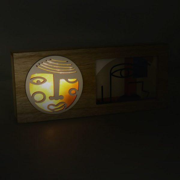 Portafoto In Legno Color Beige Con LED