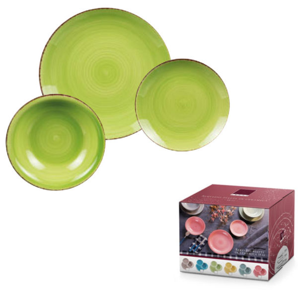 Servito Di Piatti In Ceramica 18 pz Verde
