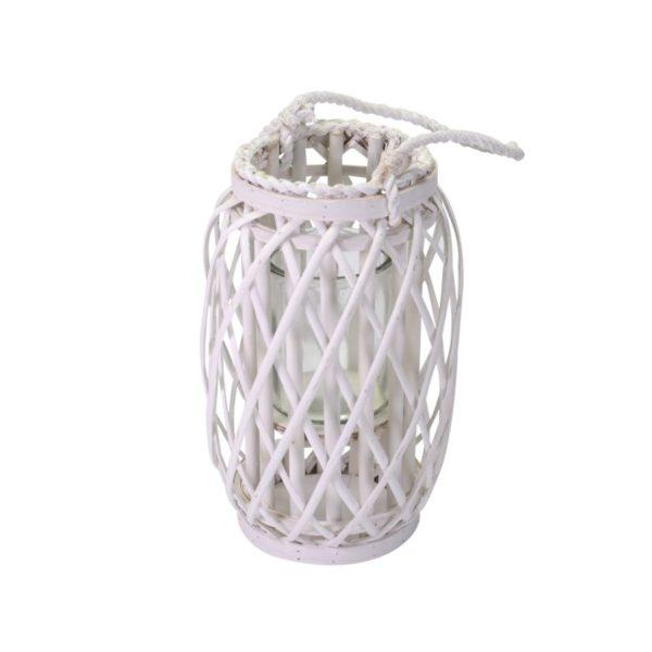 Lanterna Cilindrica In Vimini Bianco
