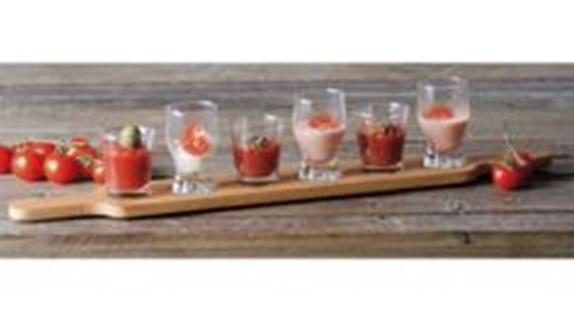 Set Per Degustazione Con 6 Bicchierini In Vetro E Vassoio In Bamboo