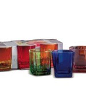 Set 6 Bicchieri In Vetro Colorato Modello Tod