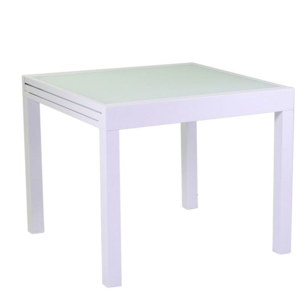 Tavolo Bianco In Alluminio E Vetro Allungabile Boise