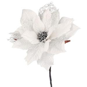 Fiore Stella Di Natale Bianco E Argento