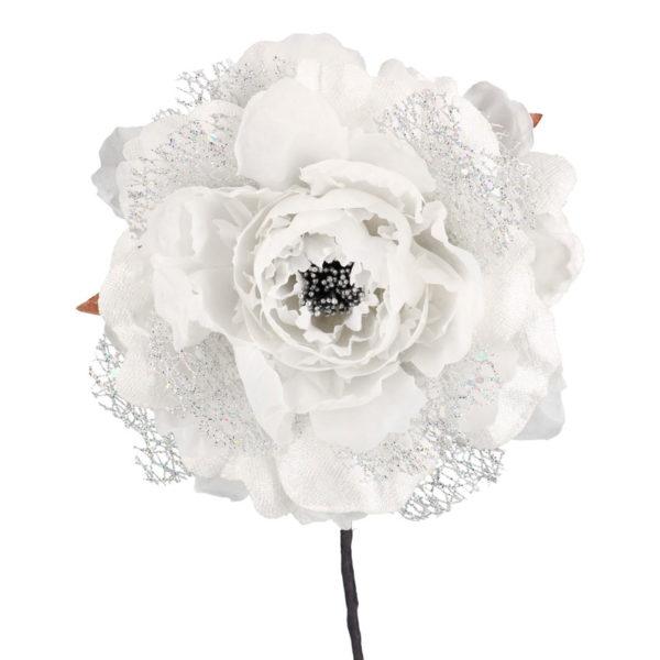 Fiore Peonia Bianco E Argento