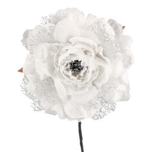 Fiore Peonia Bianco E Argento Grande